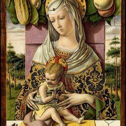 Пазл онлайн: Мадонна с младенцем