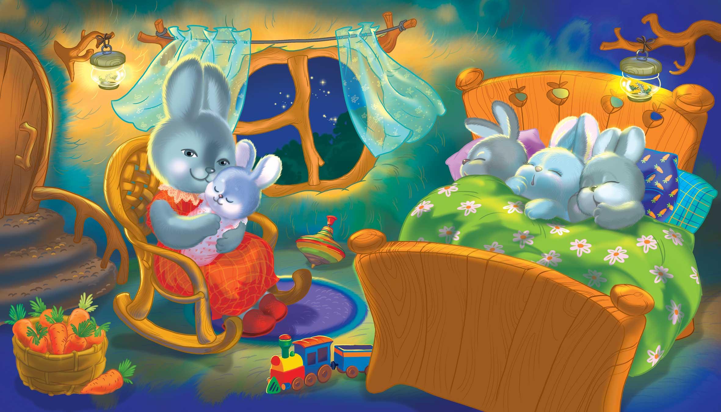 Рисунки спящих зайчат