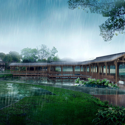 Пазл онлайн: Дождь в парке