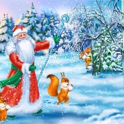 Пазл онлайн: Дед Мороз в лесу