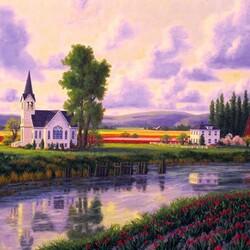 Пазл онлайн: Церковь у реки