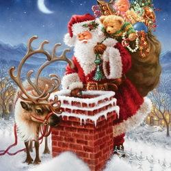Пазл онлайн: Санта-Клаус