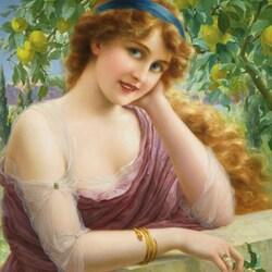 Пазл онлайн: Девушка с цветком лимона
