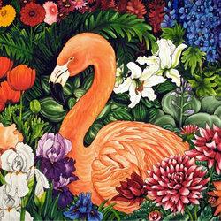 Пазл онлайн: Фламинго среди цветов