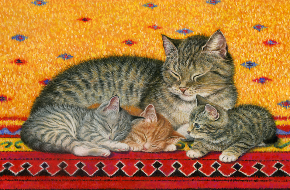 Картинки мама кошка рисованные