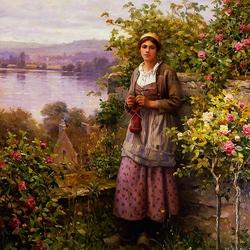 Пазл онлайн: Девушка у куста роз