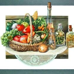 Пазл онлайн: Натюрморт с фруктами и овощами