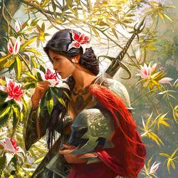 Пазл онлайн: Девушка с цветком магнолии