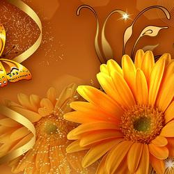 Пазл онлайн: Золотые цветы