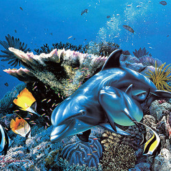 Пазл онлайн: Мама с дельфинёнком