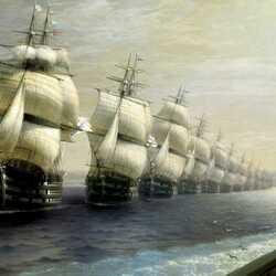 Пазл онлайн: Смотр Черноморского флота в 1849 году