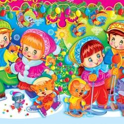 Пазл онлайн: Веселая зима