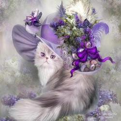Пазл онлайн: Кошка в замысловатой шляпке