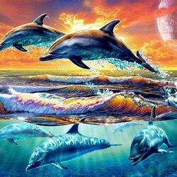 Пазл онлайн: Дельфины на рассвете