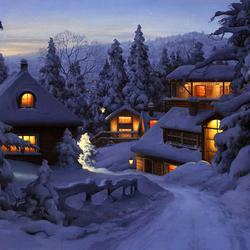 Пазл онлайн: Рождество в горах