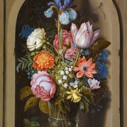 Пазл онлайн: Натюрморт с букетом цветов в нише