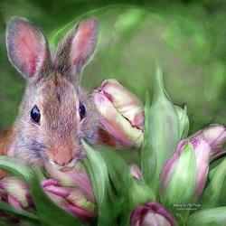 Пазл онлайн: Заяц в тюльпанах