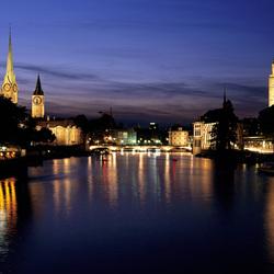 Пазл онлайн: Ночной Цюрих
