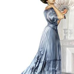 Пазл онлайн: Дама в голубом