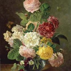 Пазл онлайн: Летние цветы в вазе на выступе