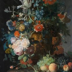 Пазл онлайн: Натюрморт с цветами в терракотовой вазе