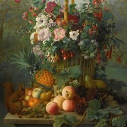 Пазл онлайн: Натюрморт с цветами, фруктами и белкой