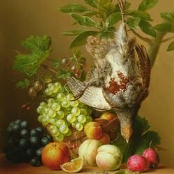 Пазл онлайн: Натюрморт с фруктами и птицей