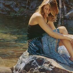 Пазл онлайн: Девушка на камне