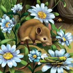 Пазл онлайн: Мышка и кузнечик