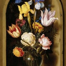 Пазл онлайн: Натюрморт с цветами в нише