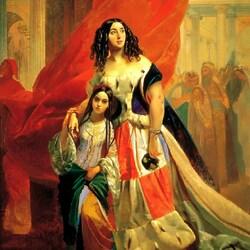 Пазл онлайн: Портрет графини Юлии Павловны Самойловой, удаляющейся с бала с приёмной дочерью Амацилией Паччини