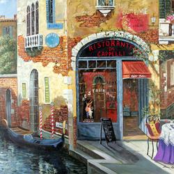 Пазл онлайн: Венецианский ресторанчик