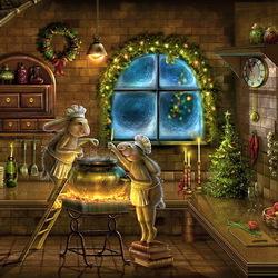 Пазл онлайн: Рождественские поварята