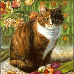 Пазл онлайн: Кот в тюльпанах
