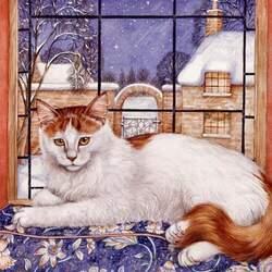 Пазл онлайн: У зимнего окна