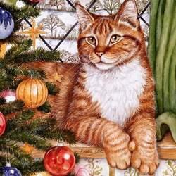 Пазл онлайн: Новогодний кот