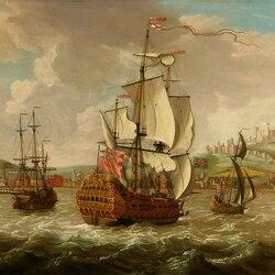 Пазл онлайн: Британский военный корабль и другие корабли возле Дувра