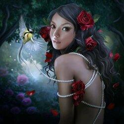 Пазл онлайн: Розы и жемчуг