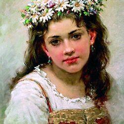 Пазл онлайн: Девушка в ромашковом венке