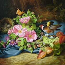 Пазл онлайн: Натюрморт с цветами, бабочкой и птицей