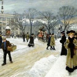 Пазл онлайн: Зимний день в Копенгагене