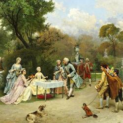 Пазл онлайн: Принцесса в садах Версаля