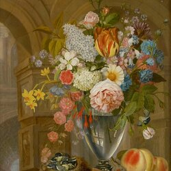 Пазл онлайн: Цветочный натюрморт с фруктами и птицами