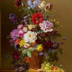 Пазл онлайн: Натюрморт в терракотовой вазе