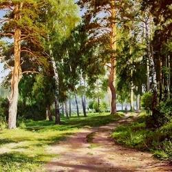 Пазл онлайн: Солнце в лесу