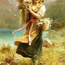 Пазл онлайн:  Девушка с полевыми цветами