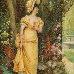 Пазл онлайн: Барышня в саду