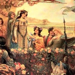 Пазл онлайн: Королева турнира, Ланселот и Гвиневра