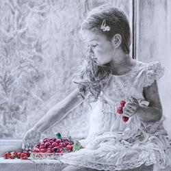 Пазл онлайн: Девочка с вишнями