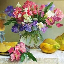 Пазл онлайн: Натюрморт с цветами и грушами